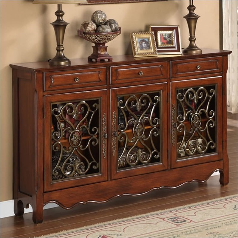 "Powell ""Walnut"" 3-Door Scroll Console 246-335"