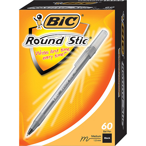 BIC Round Stic Ball Pen, Medium, Black, 60-Pack