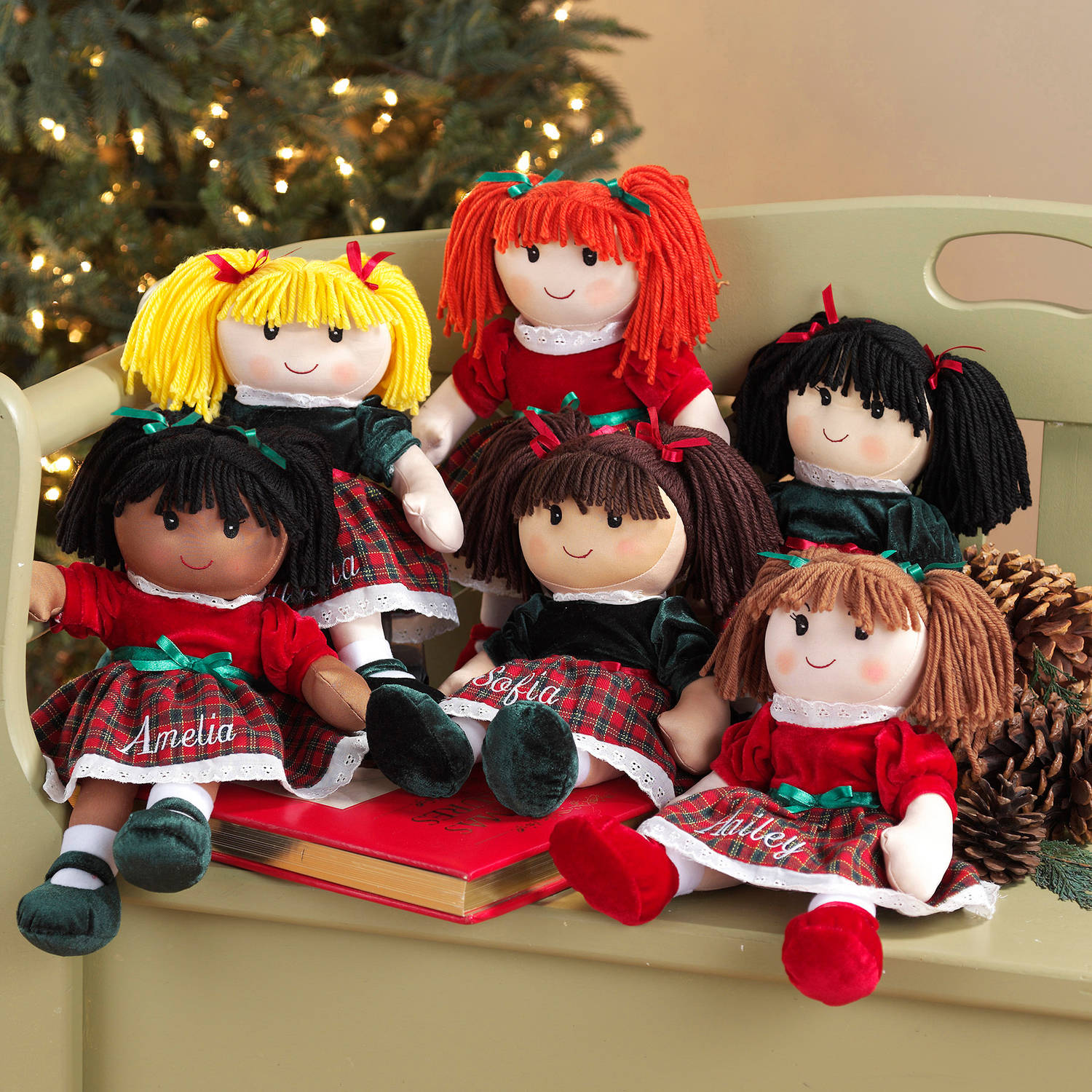 Personalized Christmas Rag Dolls, Available in 6 Styles