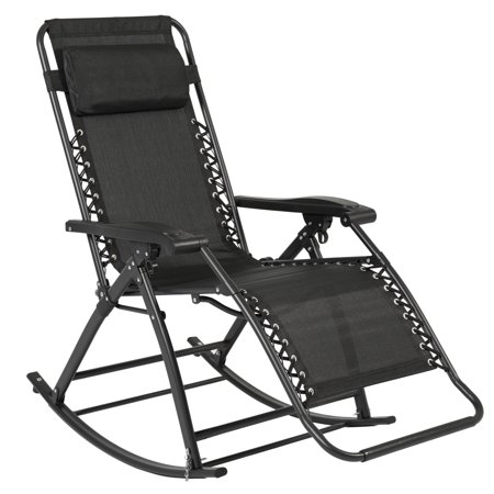 Best Choice Products Foldable Zero Gravity Rocking Patio Recliner Chair