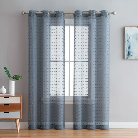 Better Homes & Gardens Clipped Pom Pom Window Curtain Panel, Set of 2 ()