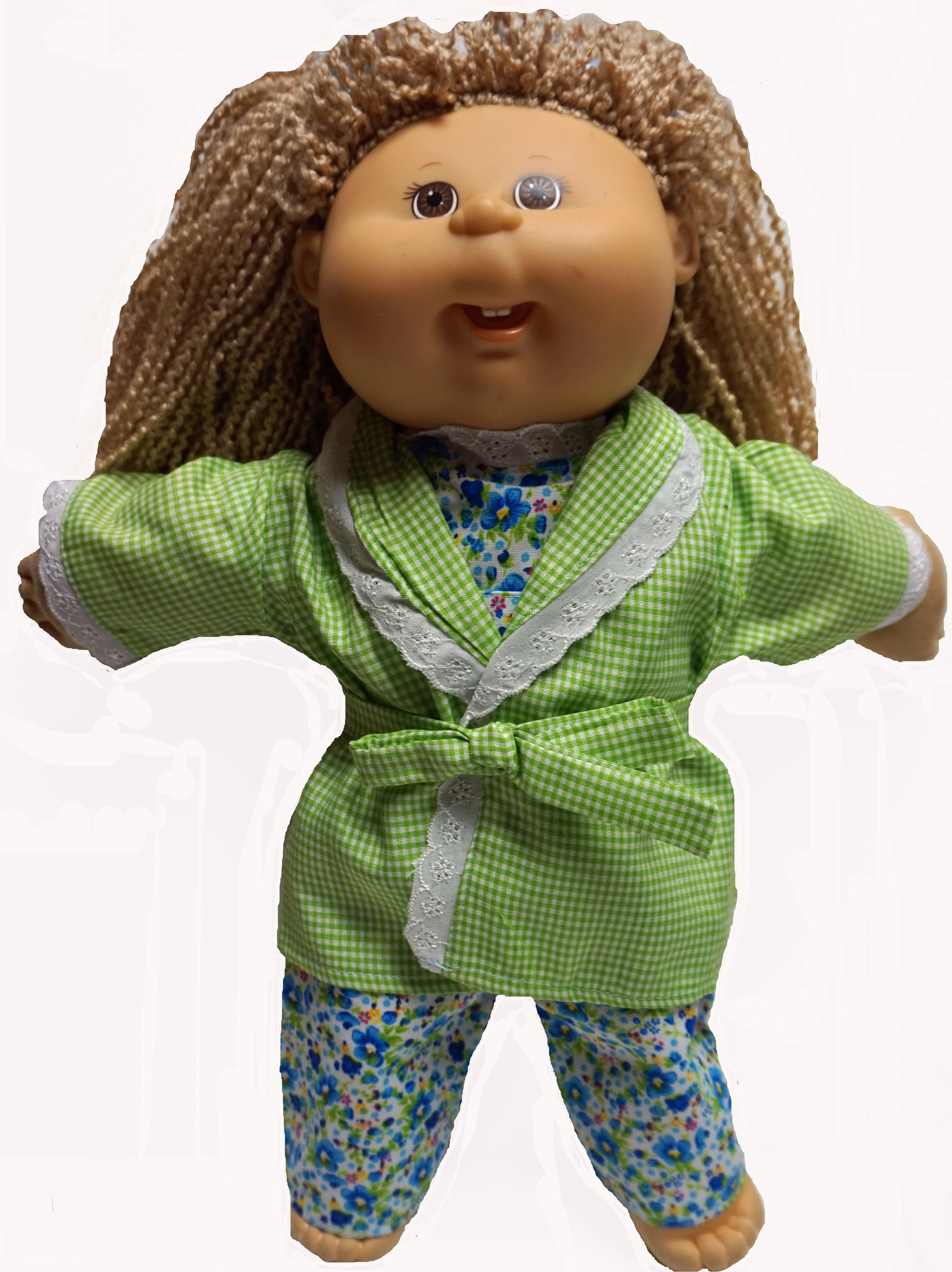 Green Check Bathrobe With Flower Pajamas Fits Cabbage Patch Kid Dolls by Doll Clothes Superstore