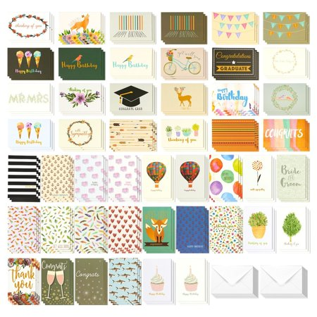 144 Pack Assorted All Occasion Greeting Cards - Includes Birthday, Wedding, Thank You Note Cards Assortment - Bulk Box Set Variety Pack with Envelopes Included - 48 Different Designs - 4 x 6