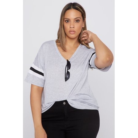 fbbdb04c8 Urban Planet Women's Plus Size V-Neck Varsity Striped Dolman T-Shirt -  image ...
