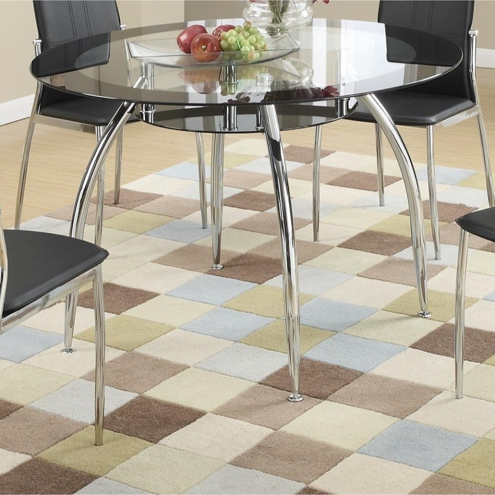 Benzara Metal And Glass Round Dining Table With Bottom Shelf, Silver