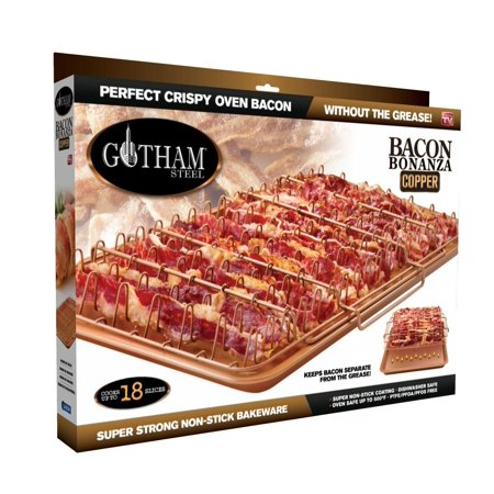 Bacon Rack - 1937 Bonanza XL Healthier Perfectly Crispy Oven-Bacon Drip Rack Tray with Pan with Nonstick Easy Clean Surface – As Seen on TV, Lower fat way to make.., By GOTHAM STEEL