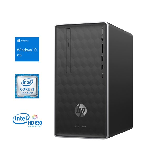 HP Pavilion 590 Desktop, Intel Quad-Core i3-8100 3.6GHz, 8GB RAM, 128GB NVMe SSD + 1TB HDD, DVDRW, HDMI, VGA, Card Reader, LAN, Wi-Fi, Bluetooth, Windows 10 Pro