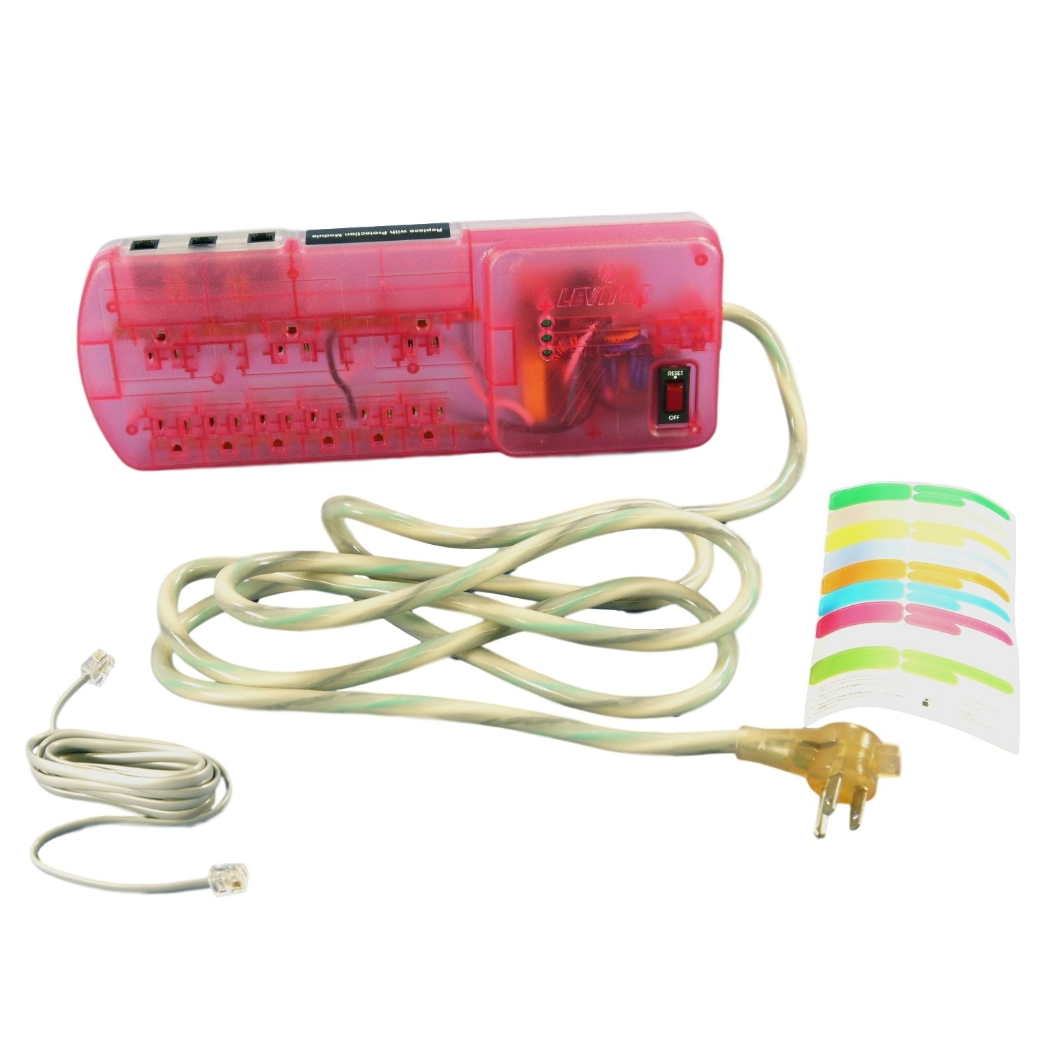 Leviton Pink MODULAR Surge Protector Power Strip With Phone Module 15A 5950-STS