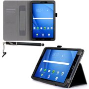 Samsung Galaxy Tab A 10.1 Case - DigitalsOnDemand Black Leather Folio Cover Stand for Tab A 10.1 T580 - Card Holders, Wallet Pouch, Hand Held Strap and Stylus Pen (will Not Fit Tab A 10.1 with S Pen)