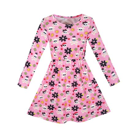 Girls Dress Halloween Skull Print Costume Dress 4