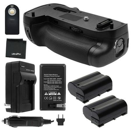 Battery Grip Bundle F/ Nikon D750 Camera - UltraPro Bundle Includes: Vertical Battery Replacement Grip for MB-D16, 2-Pk EN-EL15 Replacement Long-Life Batteries, Charger, More (New Battery Grip)