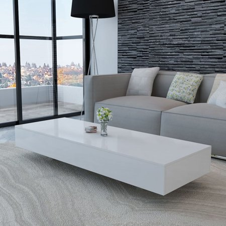 Rectangular Coffee Table Rectangle Tea Modern Living Room Furniture White Side Desk ()