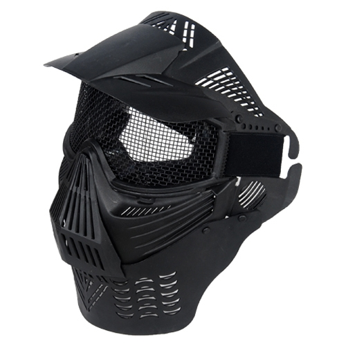 Full Face Mesh Airsoft Goggle   Mask with Neck Protection Black by