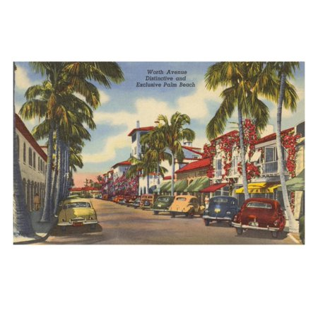 Worth Avenue, Palm Beach, Florida Laminated Print Wall (Palm Beach Florida Worth Avenue)