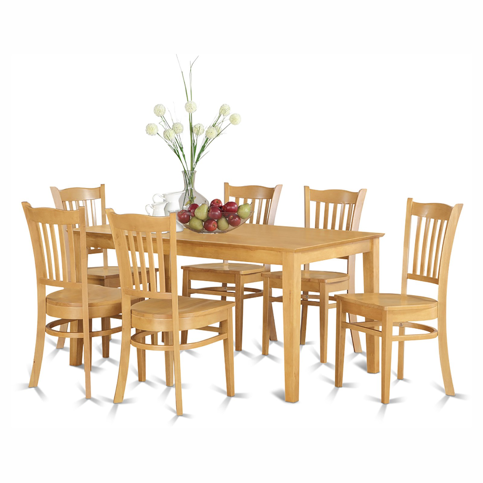 East West Furniture Capris 7 Piece Rectangular Dining Table Set with Groton Wooden Seat Chairs