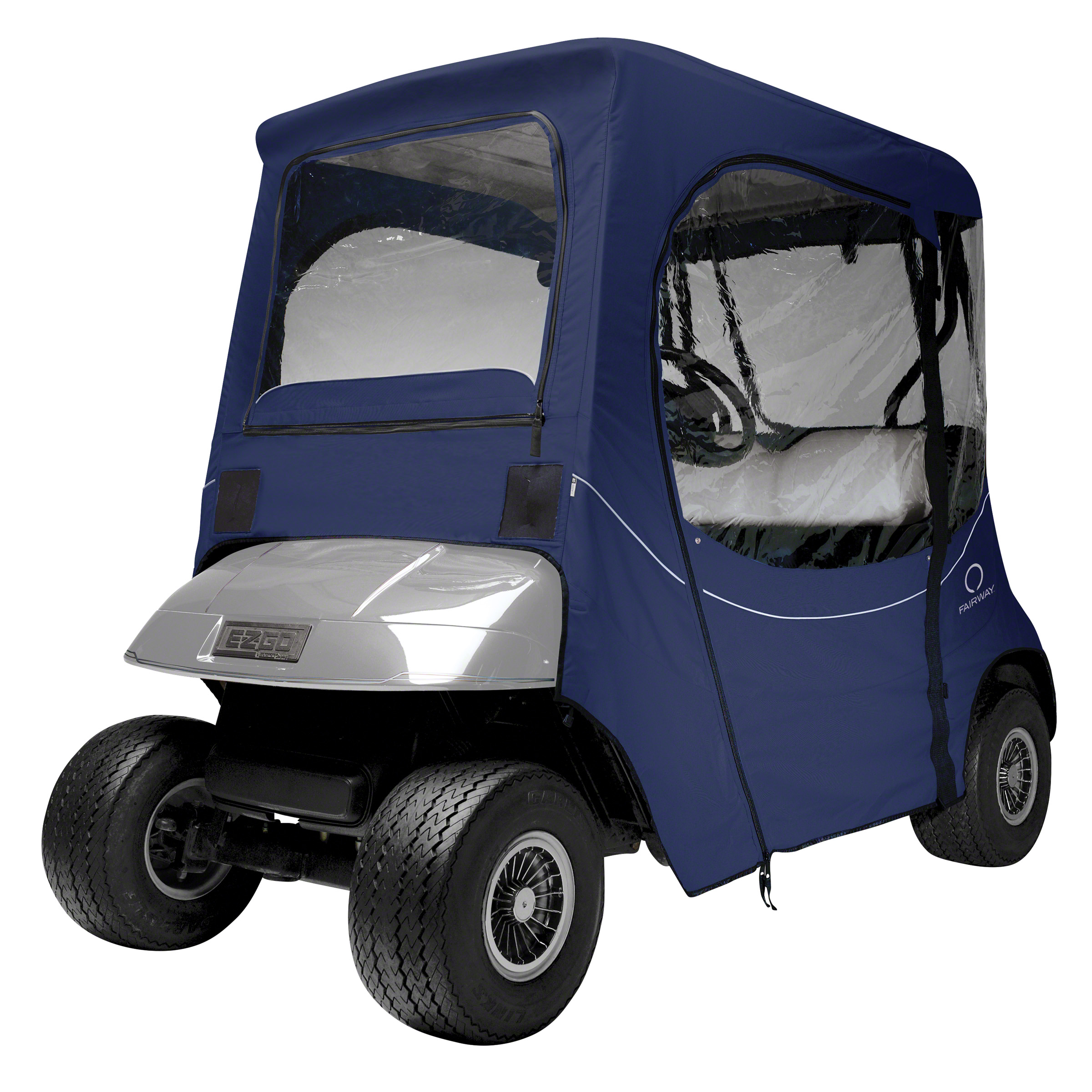 Classic Accessories Fairway Short Roof E-Z-Go FadeSafe Golf Cart Enclosure - Khaki