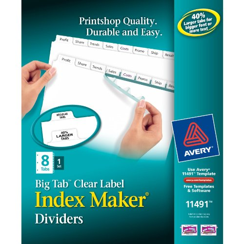 """Avery Big Tab Index Maker Clear Label Divider 8 Tab[s] set 8.50"""" X 11"""" 8   Set White Divider White... by Avery Dennison"""