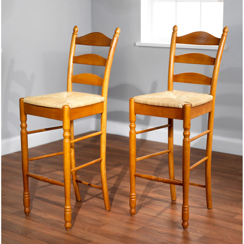 "Ladder Back Rush Seat Bar Stools 30"", Set of 2, Multiple Colors"