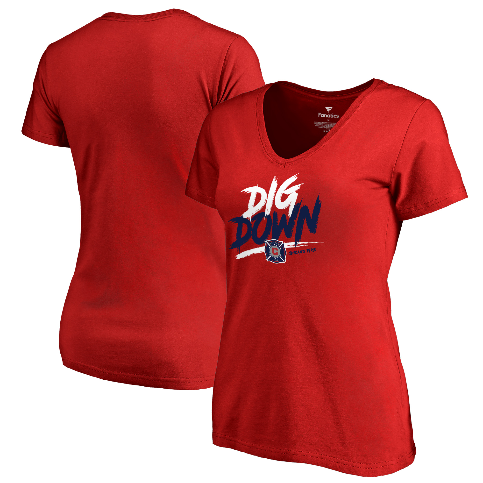 Chicago Fire Fanatics Branded Women's Dig Down V-Neck T-Shirt - Red