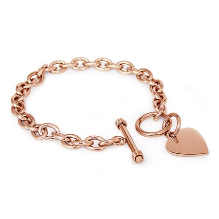 Rose Gold Plated Stainless Steel Heart Charm Toggle Link Bracelet
