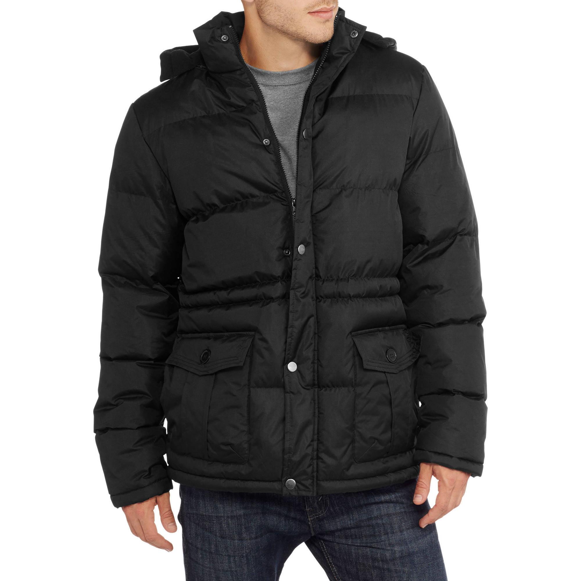 Climate Concepts Big Men's Polar Fleece Lined Bubble Jacket with Hood