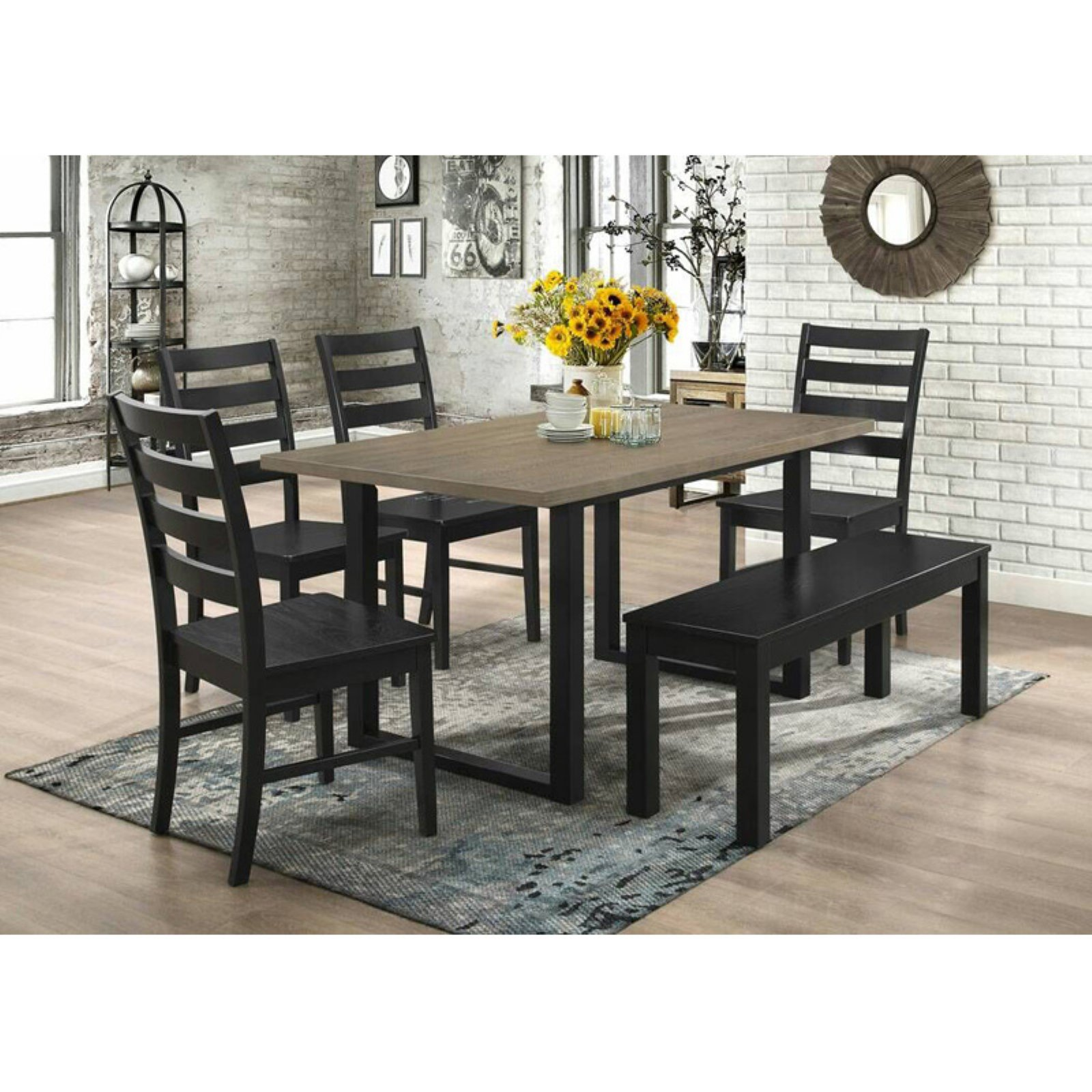 Walker Edison Modern 6 Piece Dining Table Set