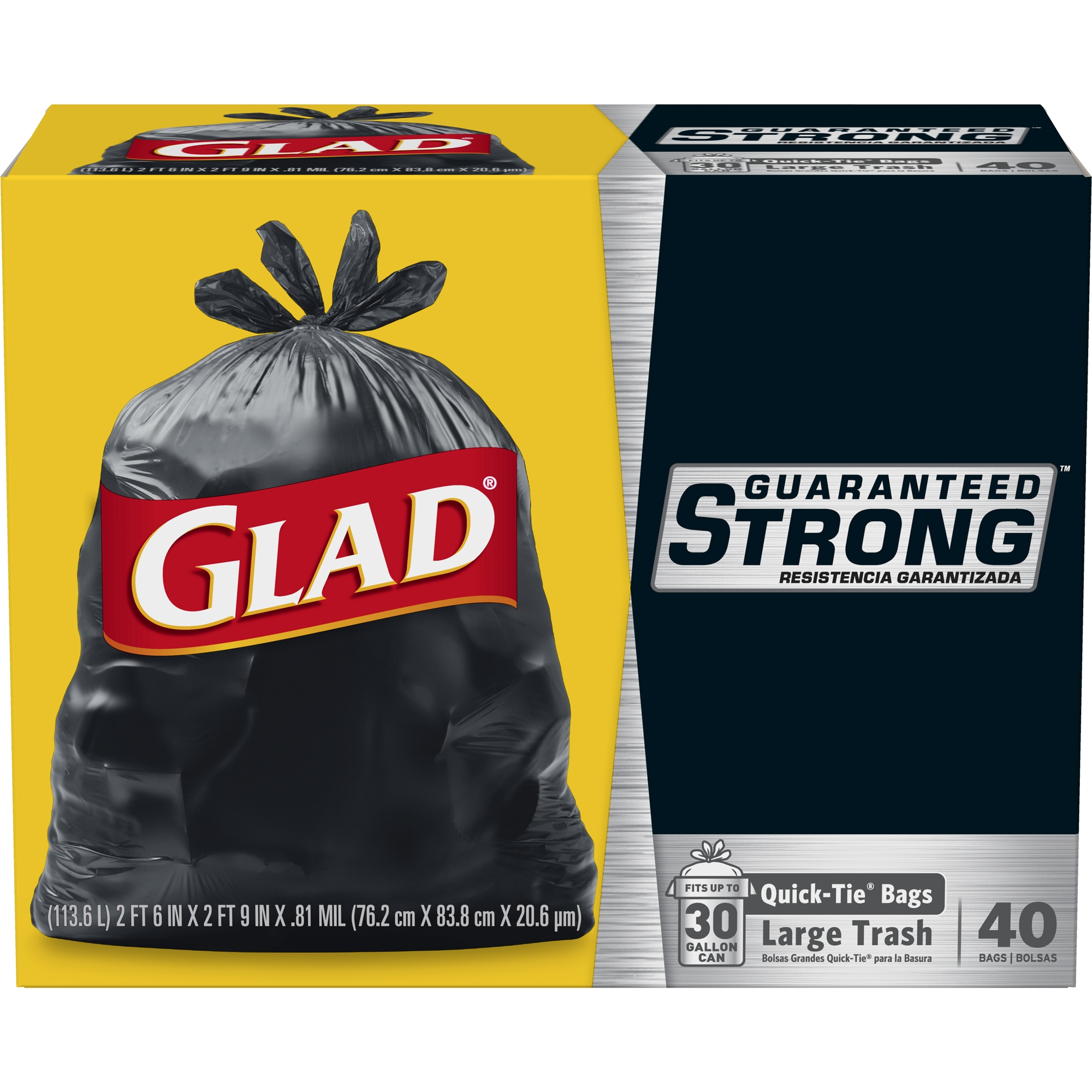 Glad Strong Quick-Tie Large Trash Bags - 30 gal - 40 ct