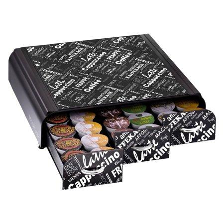 Mind Reader Anchor Triple Drawer K Cup  Dolce Gusto  Cbtl  Verismo  Single Serve Coffee Pod Holder Drawer  Holds 36  Black Print