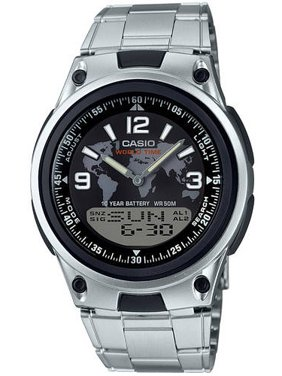Men's Analog-Digital World Time Watch, Silver Bracelet