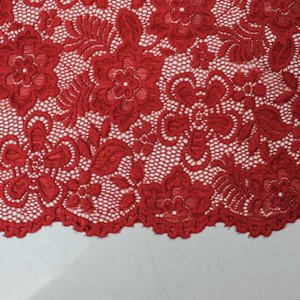 Red 58'' Caroline Floral Scalloped Nylon Stretch Scalloped Lace Fabric by the Yard