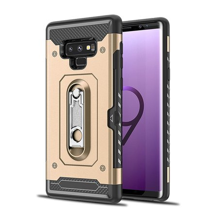 Dual Pocket Case - Galaxy Note 9 Case, Galaxy Note 9 Armor Case, Allytech Card Holder ID Slot Pocket Dual Layer Hybrid Cover Shockproof Anti-scratch Protective Hard Shell Bumper Armor for Samsung Galaxy Note 9, Gold