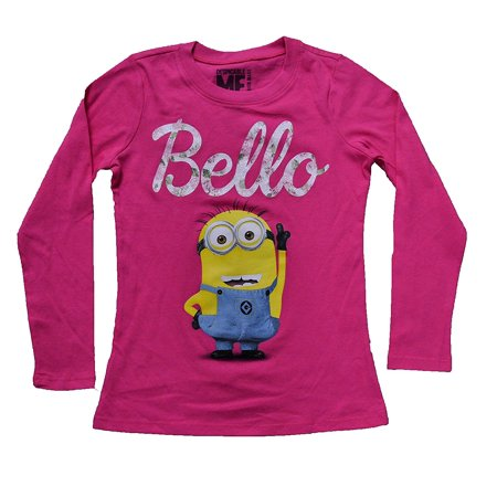 Despicable Me Minions Bello Girls Long Sleeve Shirt Fuchsia Large(14) - Pink Minion