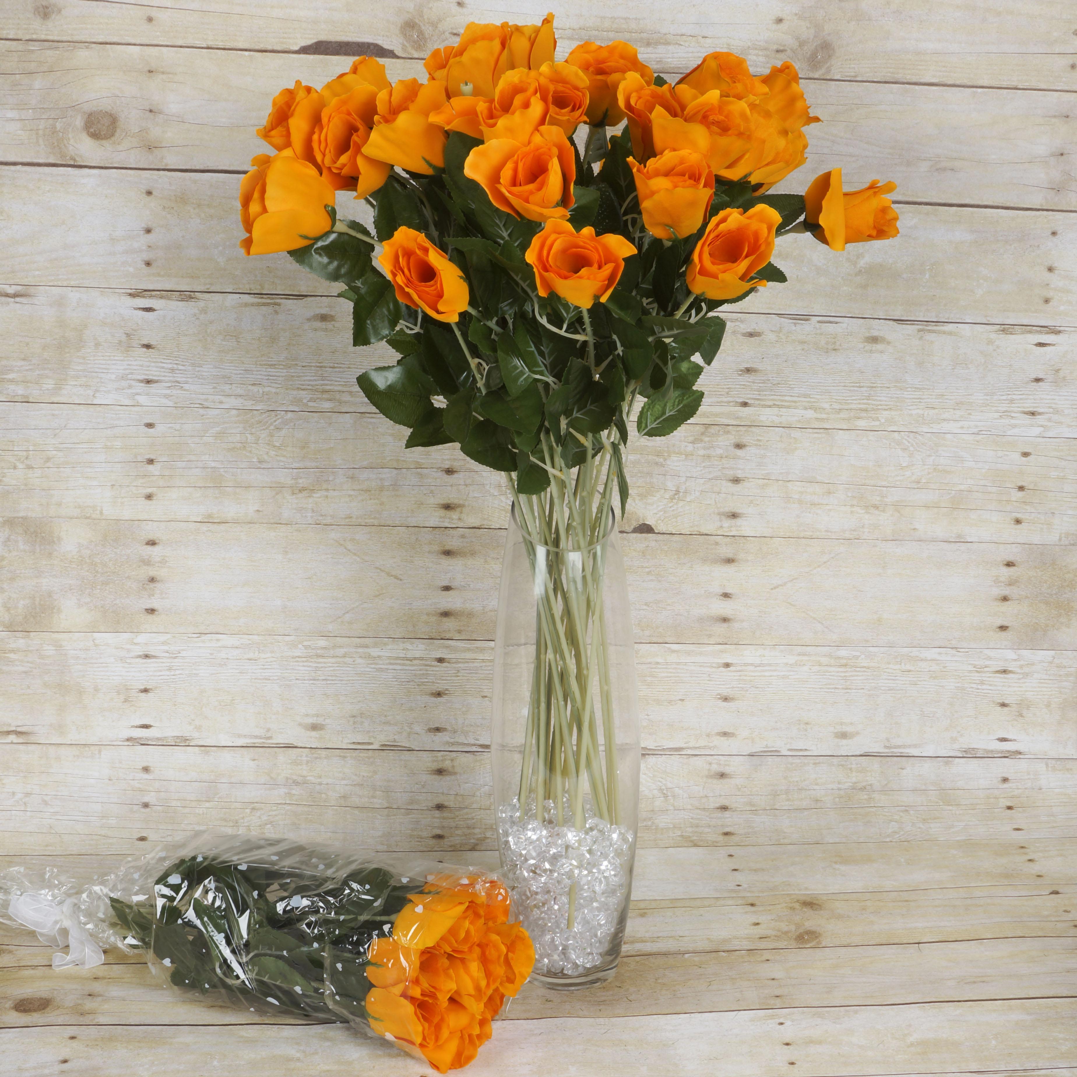 Efavormart 48 pcs Long Single Stem Rose Bundles for DIY Wedding Bouquets Centerpieces Arrangements Party Home Decorations Supply