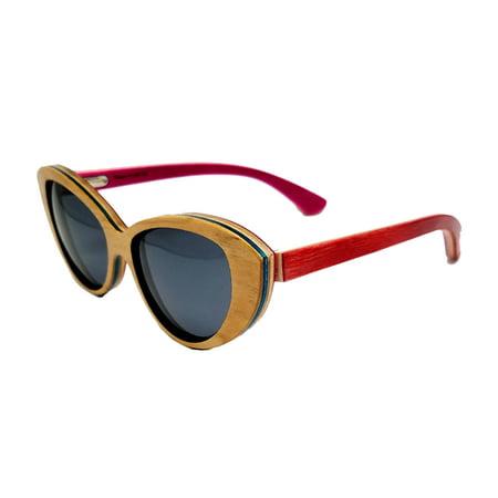 Surf Snow Promo University of Georgia Mariana Series Recycled Skateboard Wood Sunglasses-Wood/Red Fames-Smoke Lenses
