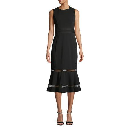 Sleeveless Illusion-Hem Sheath Dress