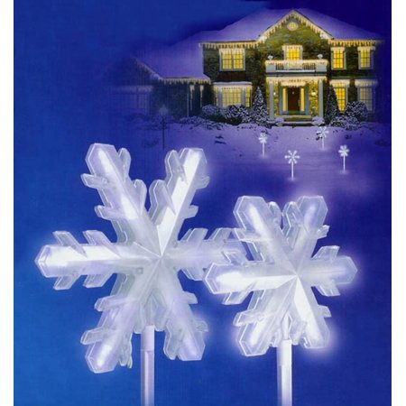 Set of 4 Pure White Frosted LED Lighted 3-D Snowflake Christmas Pathway Markers - Snowflake Light