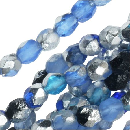 Czech Fire Polished Glass Beads, Faceted Round 4mm, 40 Pieces, Blue Tone Mix and Etched -