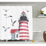 Apartment Decor Shower Curtain Set, Lighthouse And Seagulls On The Beach Navigational Aid On Seaside Waterways Art, Bathroom Accessories, 69W X 70L Inches, By Ambesonne