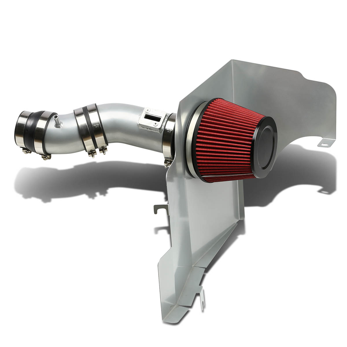 For 11-14 Ford Mustang Silver Coated Aluminum Air Intake Pipe+Red Filter - V6 12 13