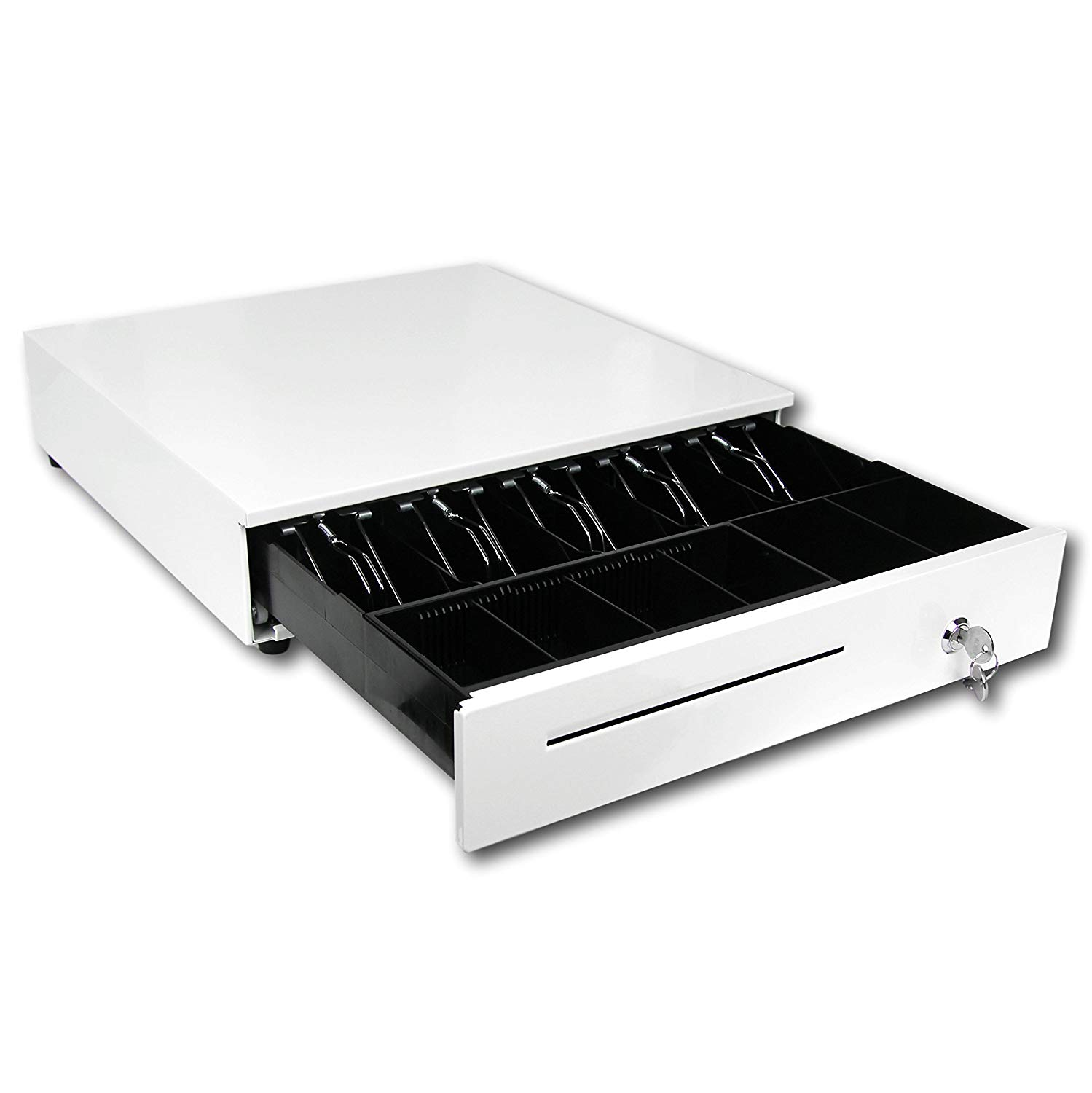 Cash Register Drawer for Point of Sale (POS) System with Removable Coin Tray, 5 Bill/6 Coin, 24V, RJ11/RJ12 Key-Lock, Media Slot, White