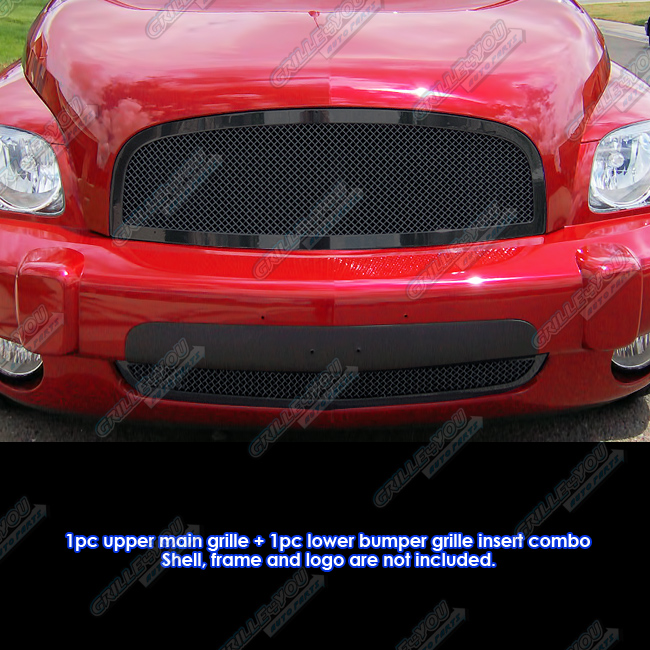 Fits 2006-2011 Chevy HHR Black Stainless Steel Mesh Grille Grill Insert Combo # C77868H