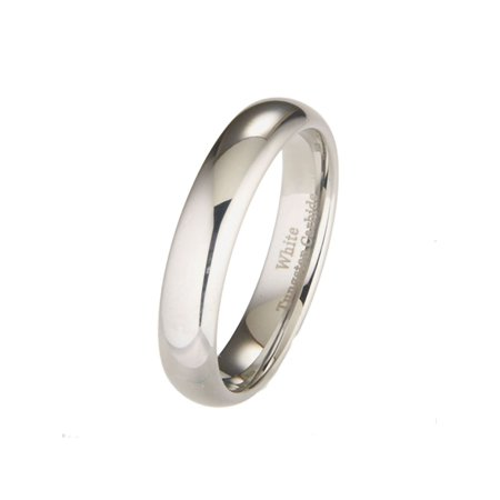 - 5mm White Tungsten Carbide Polished Classic Wedding Ring