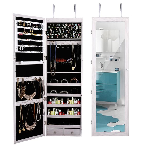 Full Length Hanging Mirror Jewelry Cabinet Armoire Makeup Storage Organizer Wall Mounted With Interior Mirror Auto Led Lights Lock Cosmetics Tray Brush Holders Toys2 Walmart Com Walmart Com