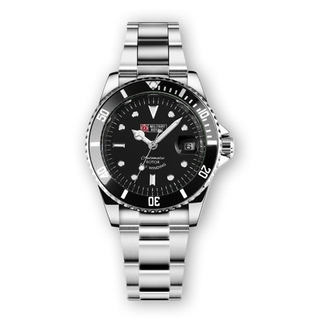 Military Automatic Watch Mens Stainless Steel Silver Case Black Dial Black Bezel ()