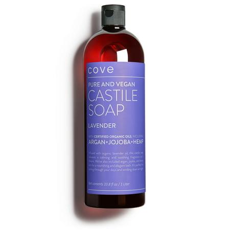 Cove Castile Soap - Lavender 33.8 oz / 1 Liter - Organic Argan, Hemp, Jojoba (Oil Castile Soap)