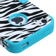 Insten Zebra Skin Case Tropical Teal TUFF Hybrid Phone Case Cover For APPLE iPhone 4 4S