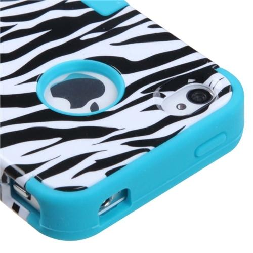 Insten Zebra Skin Case Tropical Teal TUFF Hybrid Phone Case Cover For APPLE iPhone 4 4S
