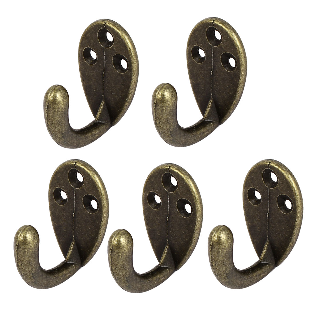 5pcs Alloy Retro Wardrobe Bookcase Wall Mounted Handbag Coat Hooks
