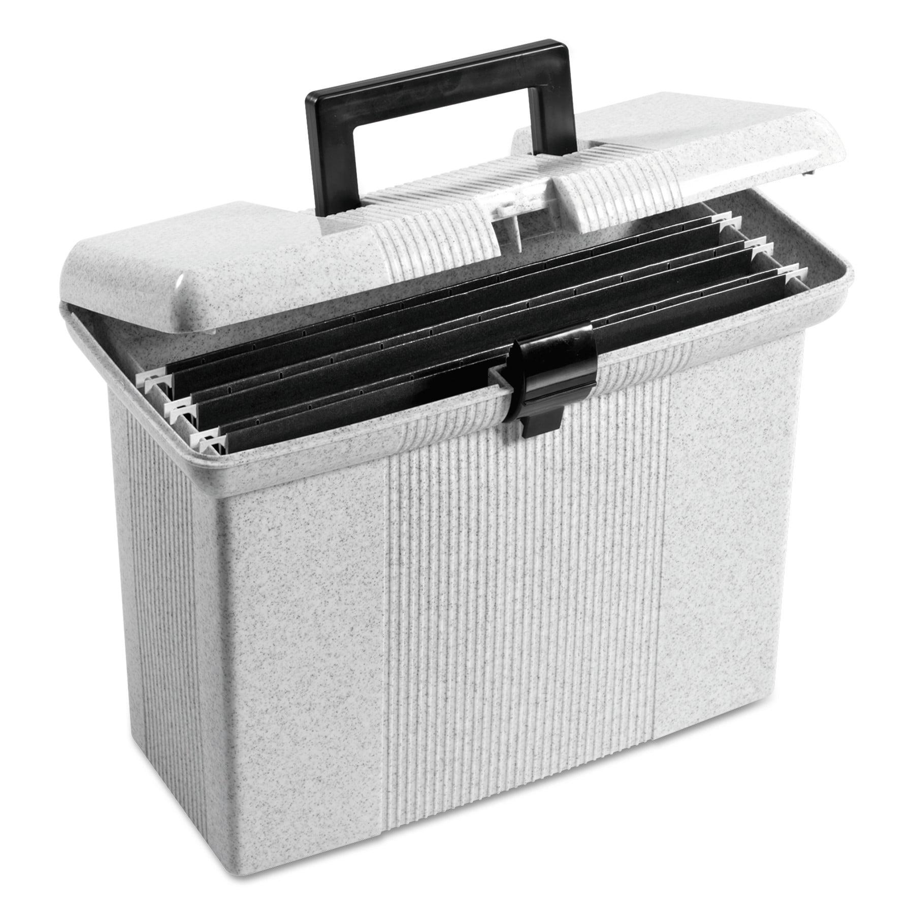 Pendaflex Portable File Boxes, Letter, Plastic, 14-7/8 x 6-1/2 x 11-7/8, Granite -PFX41737