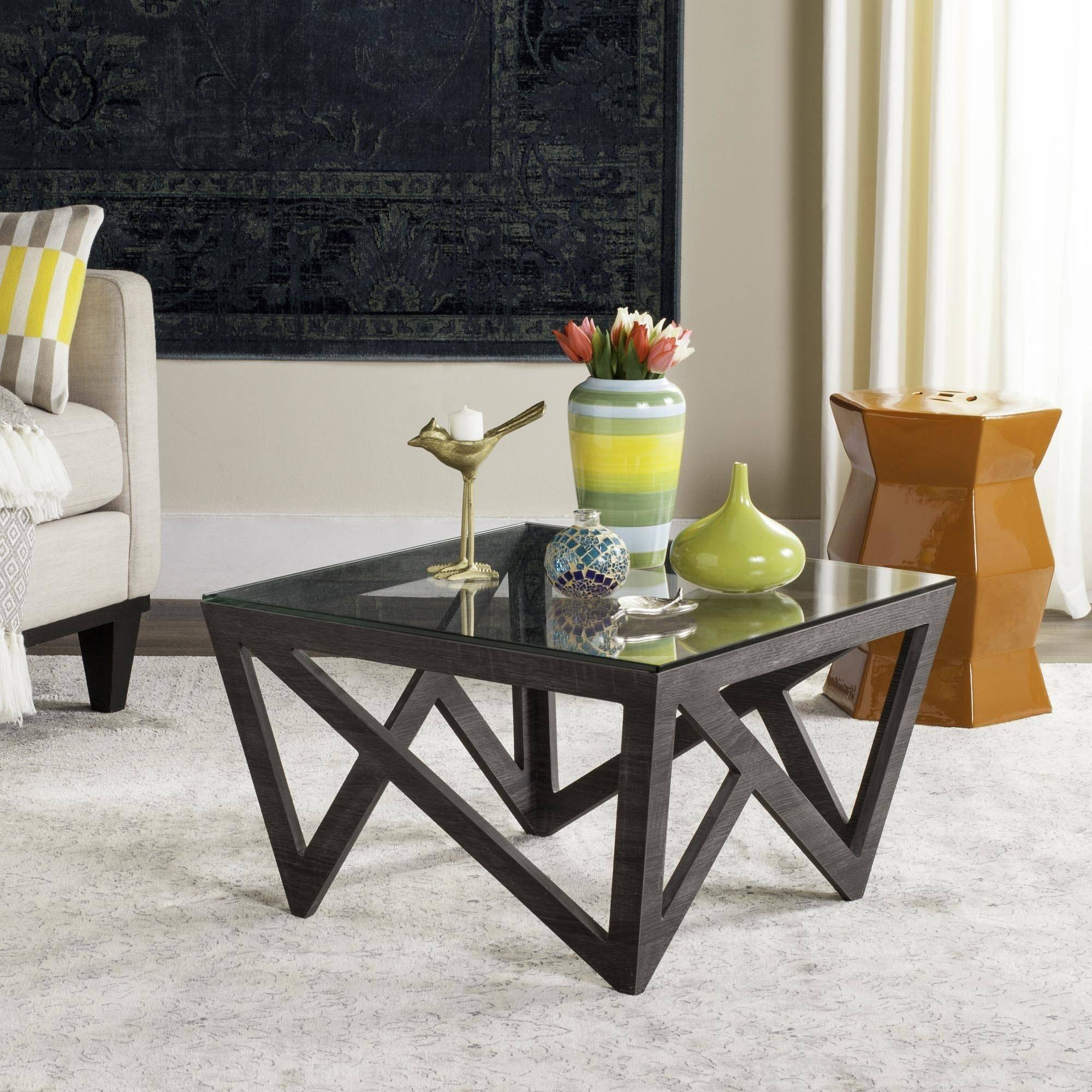 "Safavieh Radley 23"" Square Glass Top Mid Century Coffee Table, Dark Grey"